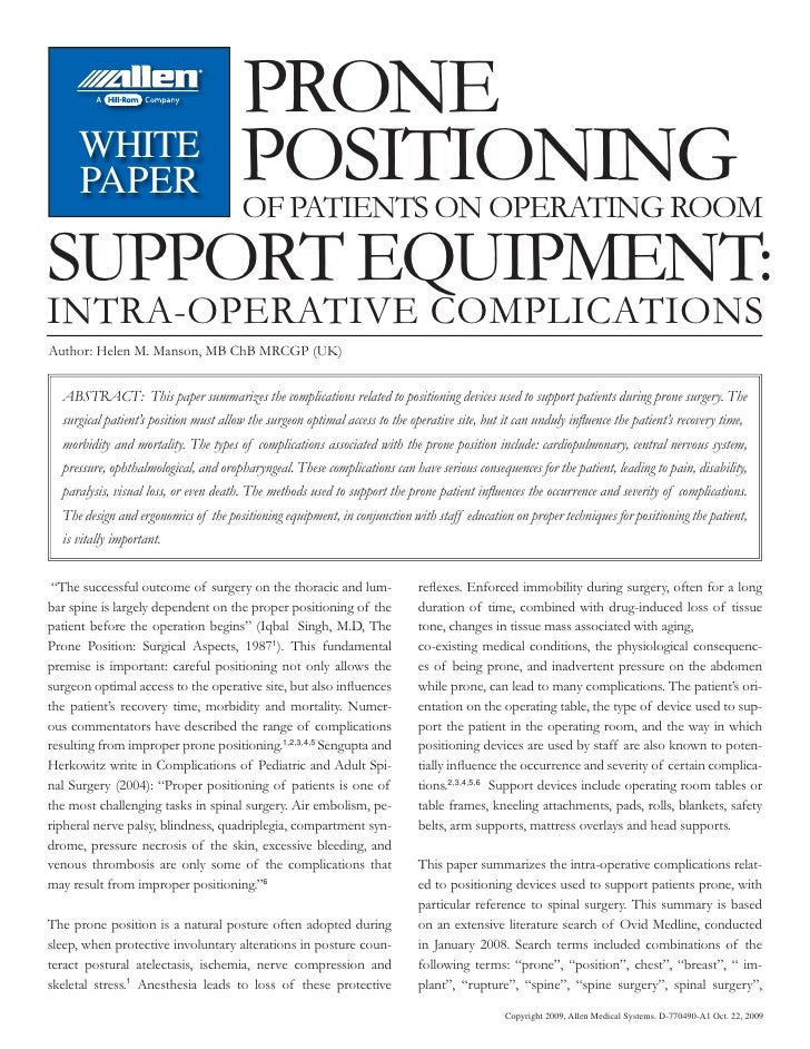 PRONE     WHITE     PAPER                             POSITIONING                                       OF PATIENTS ON OPE...