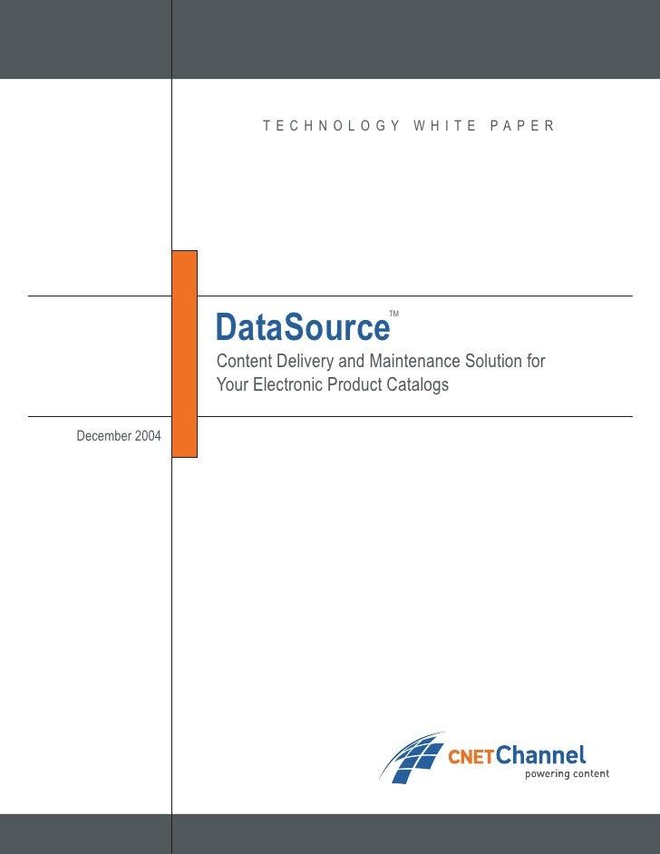 T ECHNOLOGY           WHI TE   PAPER                     DataSource                                        TM             ...