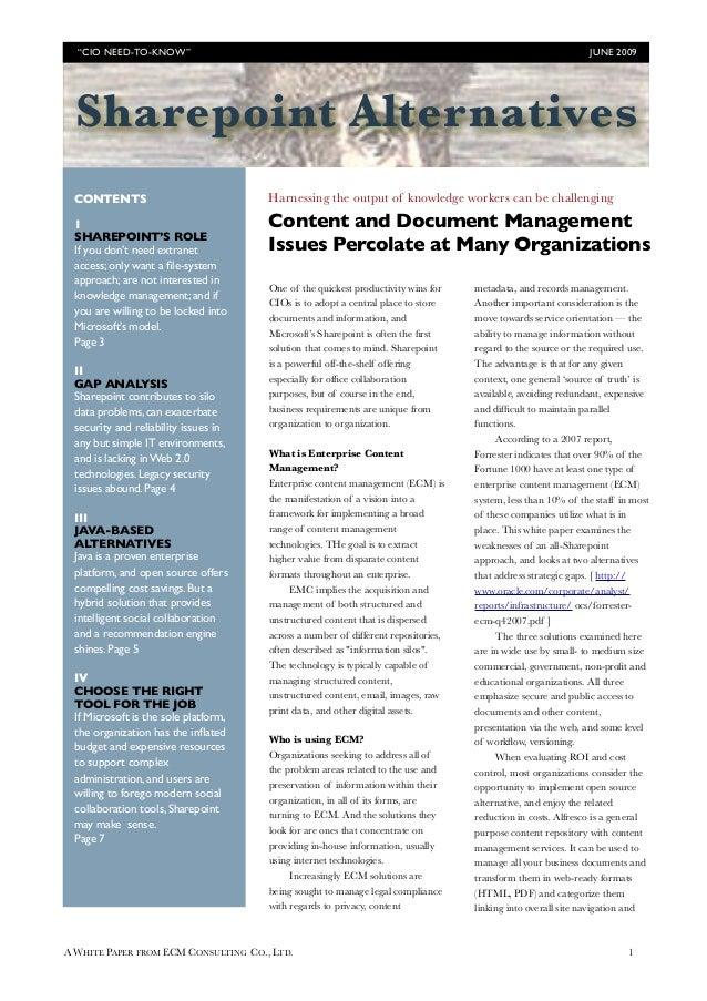 Business Process and Enterprise Content alternatives to Sharepoint