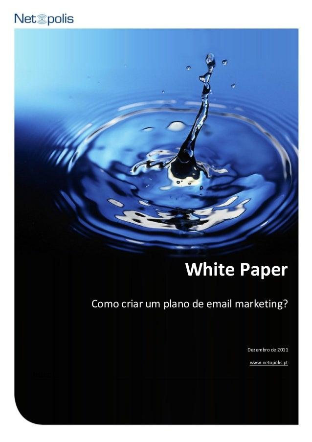 White Paper  - Como criar um plano de email marketing?