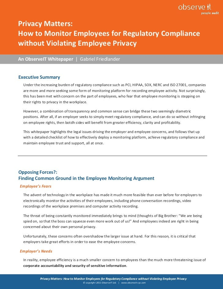 How to Monitor Employees for Regulatory Compliance without Violating Employee Privacy