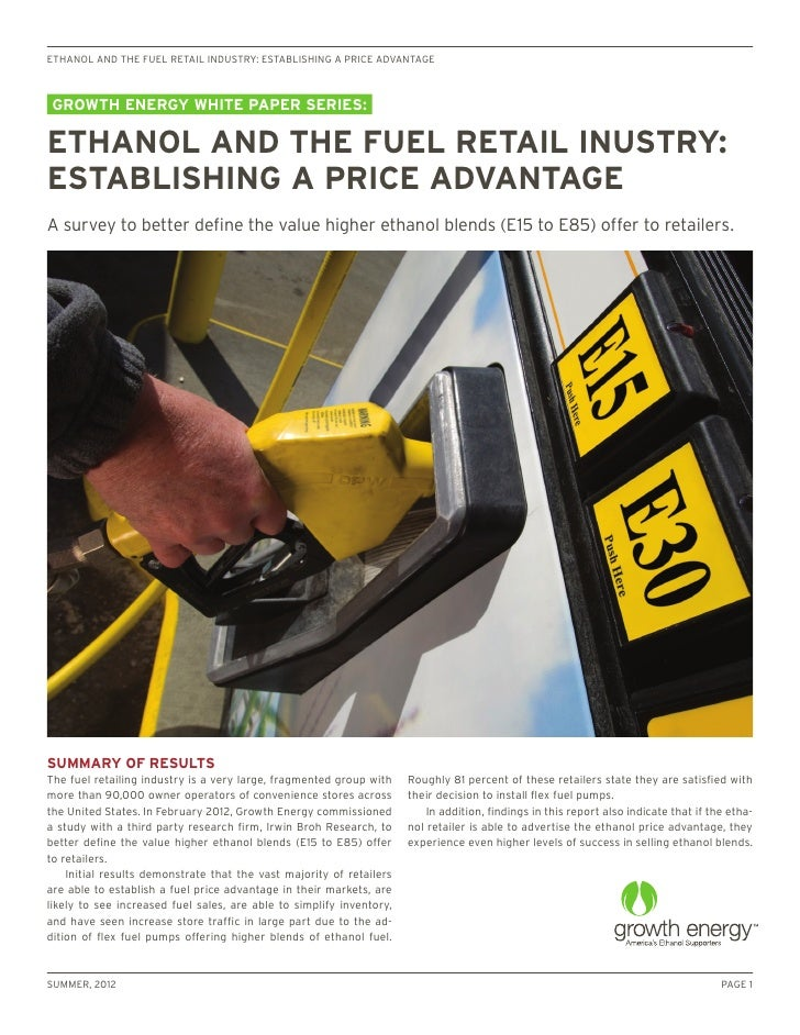 ethanol and the fuel retail industry: establishing a price advantagegrowth energy white paper series:ethanol and the fuel ...