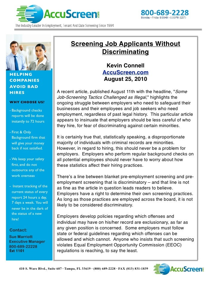 Screening Job Applicants Without                                                 Discriminating                           ...