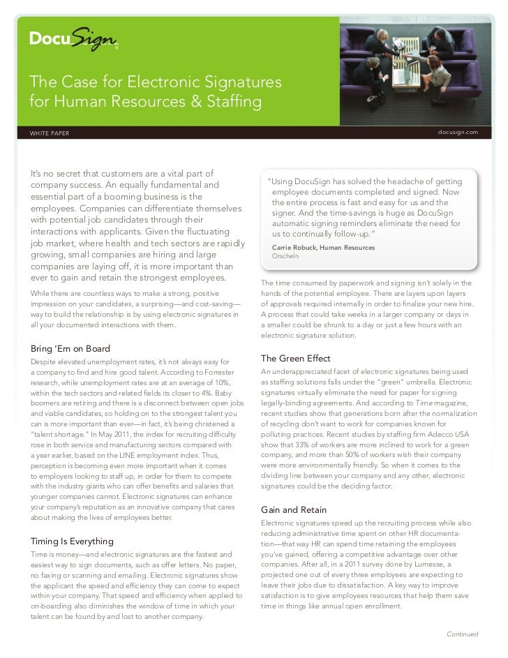 The Case for Electronic Signaturesfor Human Resources & StaffingWHITE PAPER                                                ...