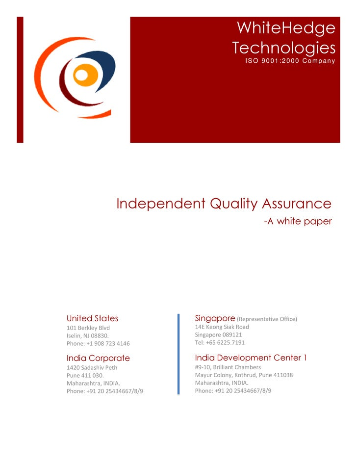 WhiteHedge Technologies  - WhitePaper on Independent QA