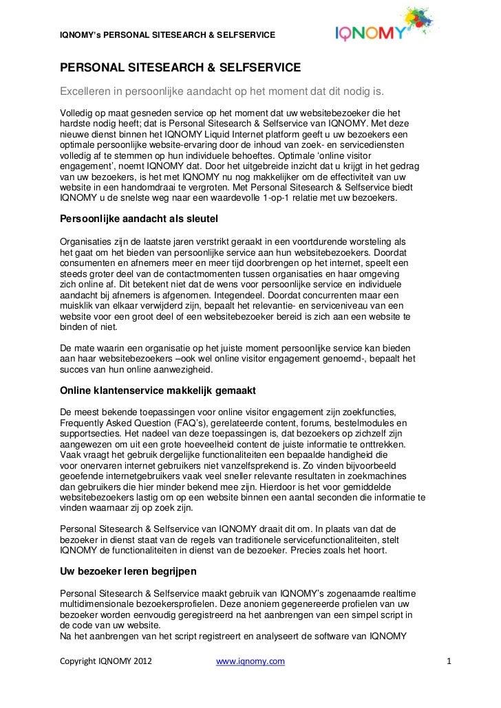 Whitepaper IQNOMY personal sitesearch & selfservice