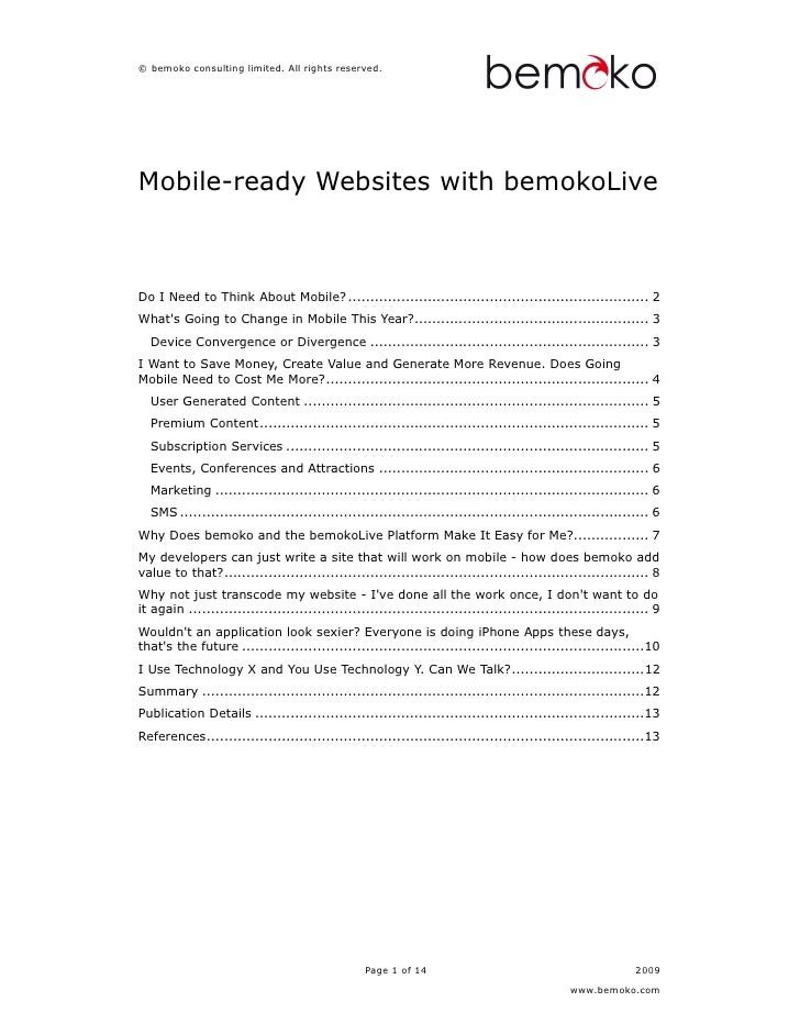 © bemoko consulting limited. All rights reserved.     Mobile-ready Websites with bemokoLive    Do I Need to Think About Mo...