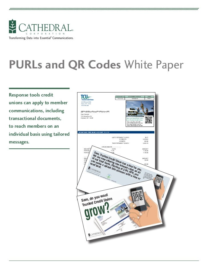 PURLs and QR Codes White Paper for Credit Unions