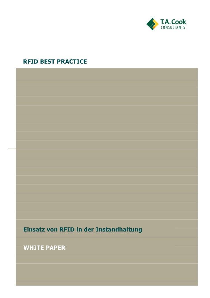 RFID BEST PRACTICEEinsatz von RFID in der InstandhaltungWHITE PAPER