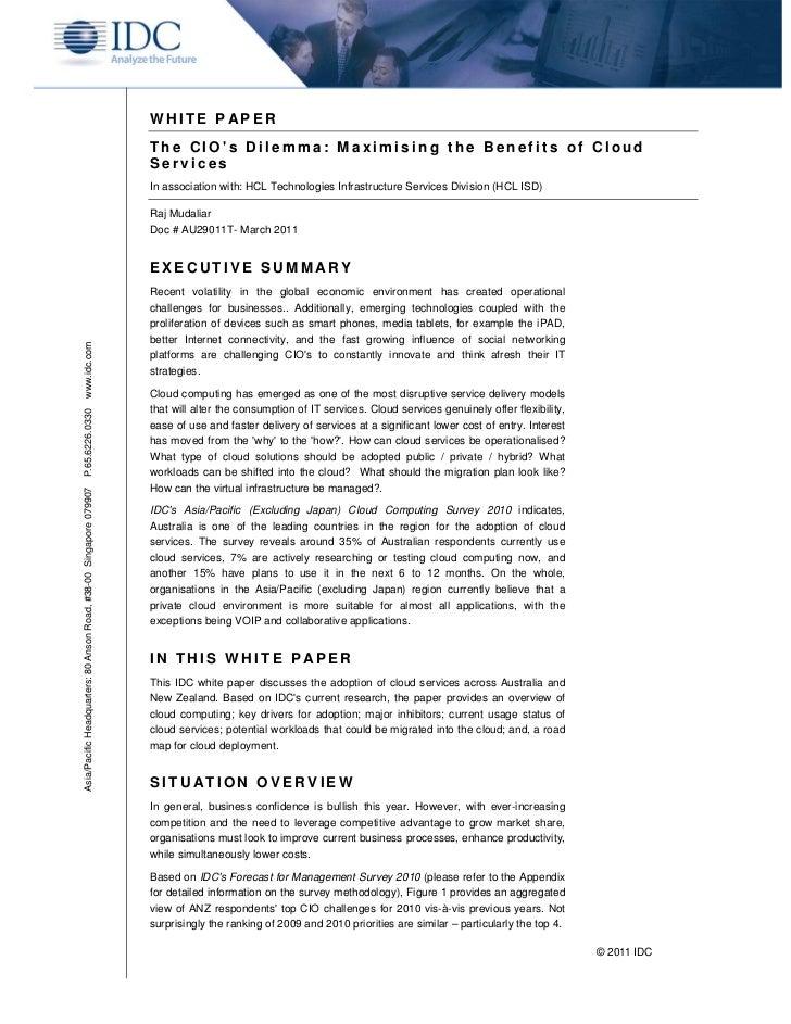 HCLT Whitepaper : The CIO's Dilemma - Maximising the Benefits of Cloud