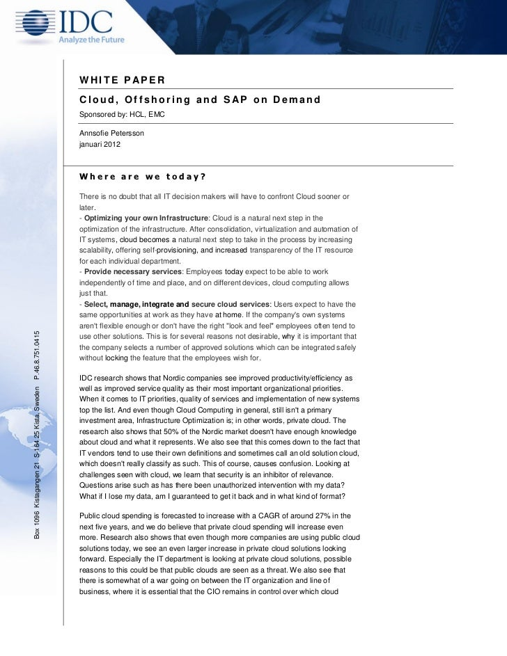 HCLT Whitepaper: Cloud, Offshoring and SAP on Demand