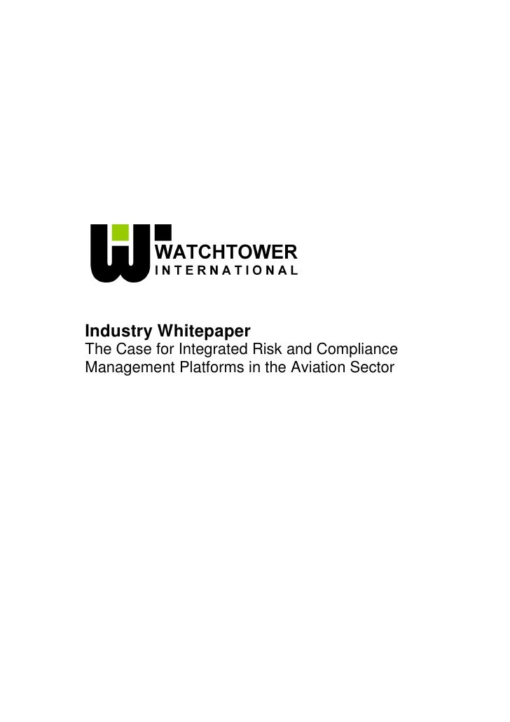 Whitepaper The Case For Integrated Risk & Compliance Management Platforms In The Aviation Sector Final