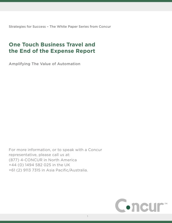 White Paper Travel & Expense One Touch Business Travel Na