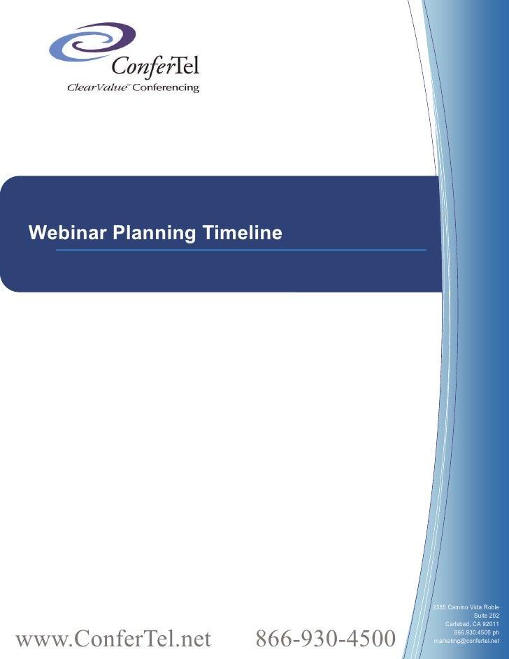 Webinar Planning Timeline