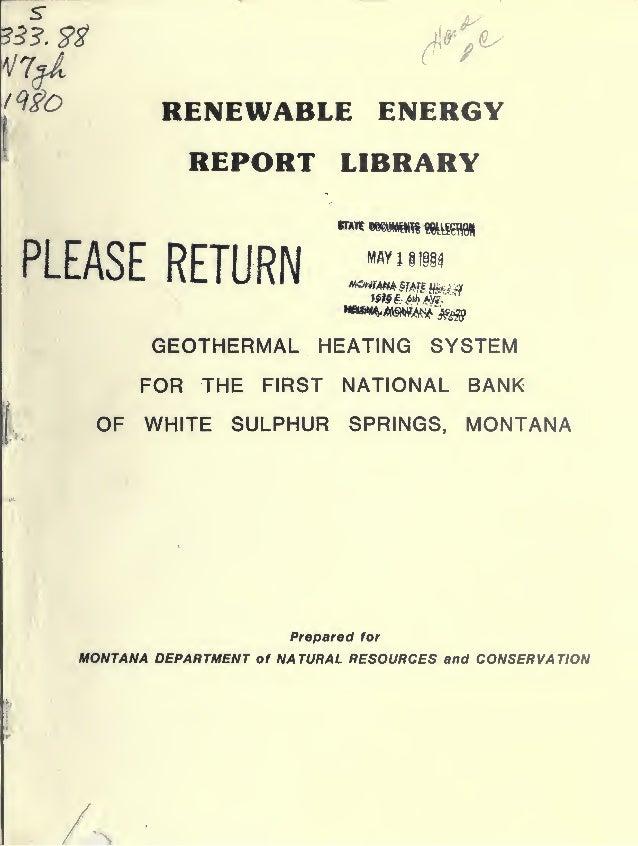 White sulphur springs geothermal well