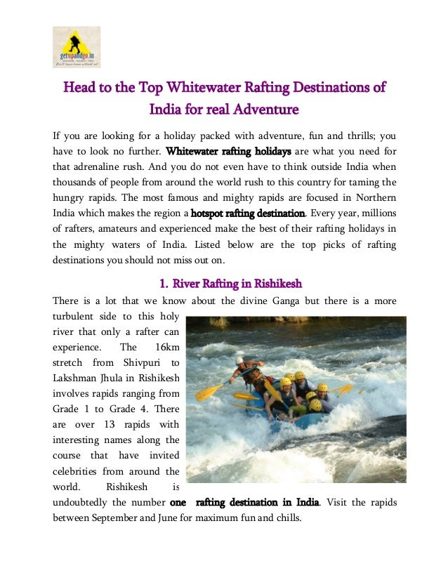 Whitewater Rafting Destinations of India