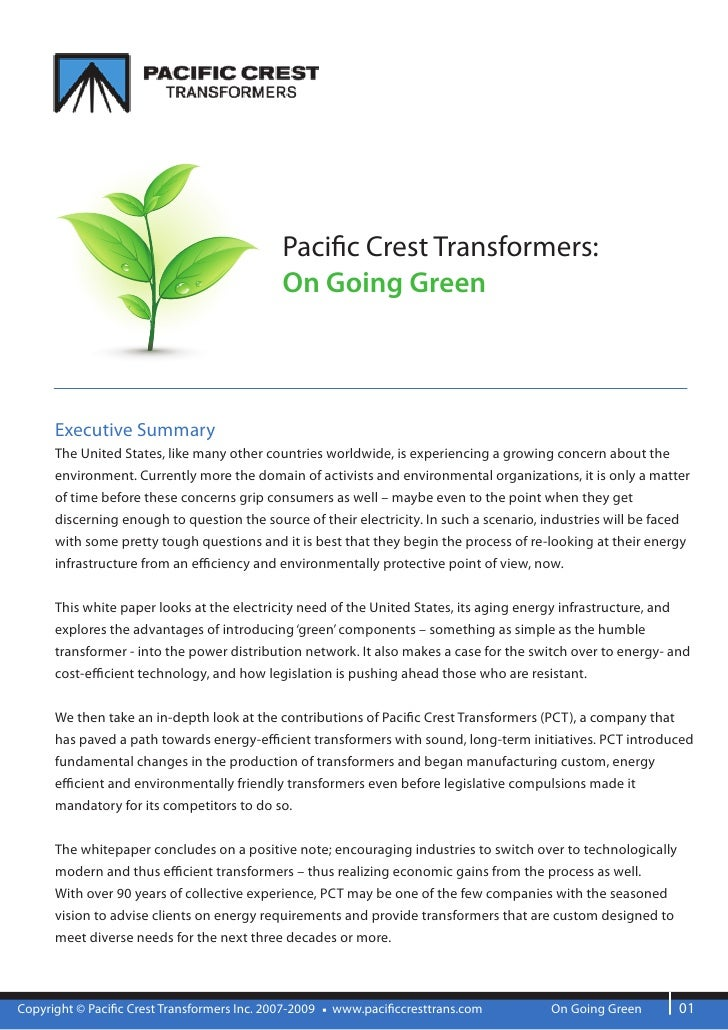 Paci c Crest Transformers:                                               On Going Green          Executive Summary       T...