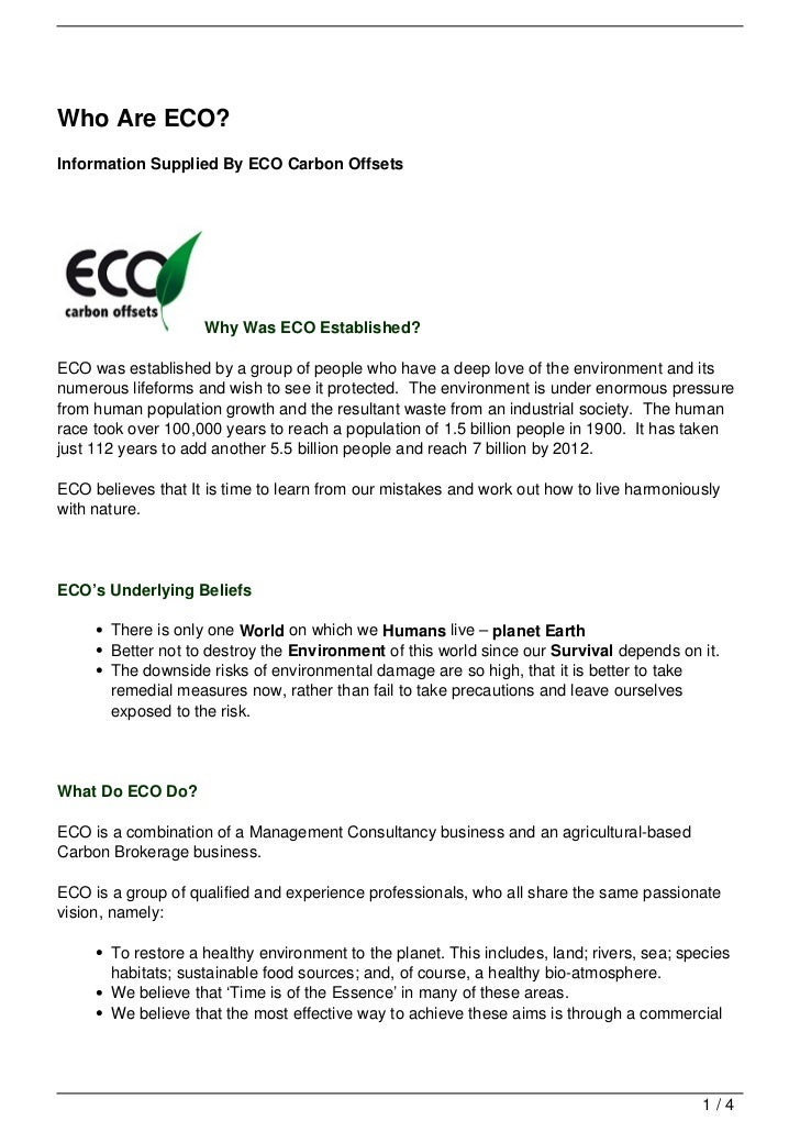 Who Are ECO?Information Supplied By ECO Carbon Offsets                    Why Was ECO Established?ECO was established by a...