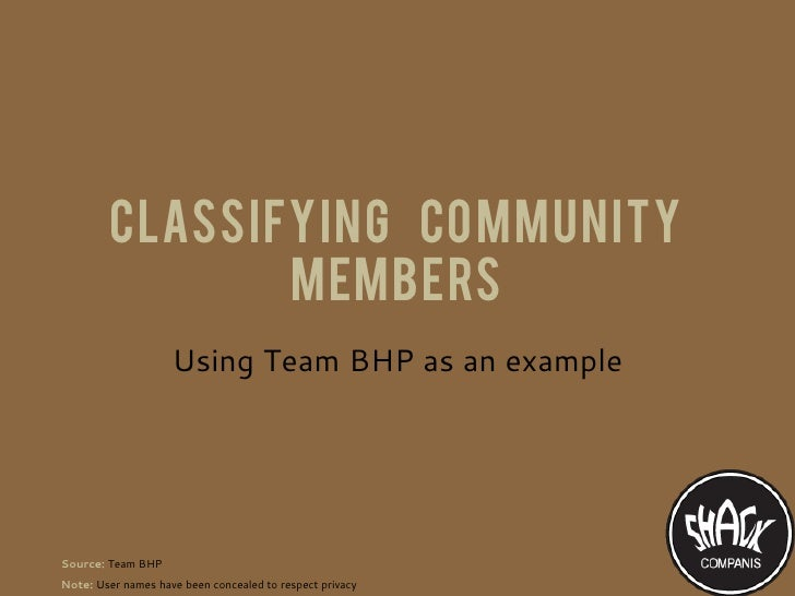 Classifying community                members                    Using Team BHP as an exampleSource: Team BHPNote: User nam...