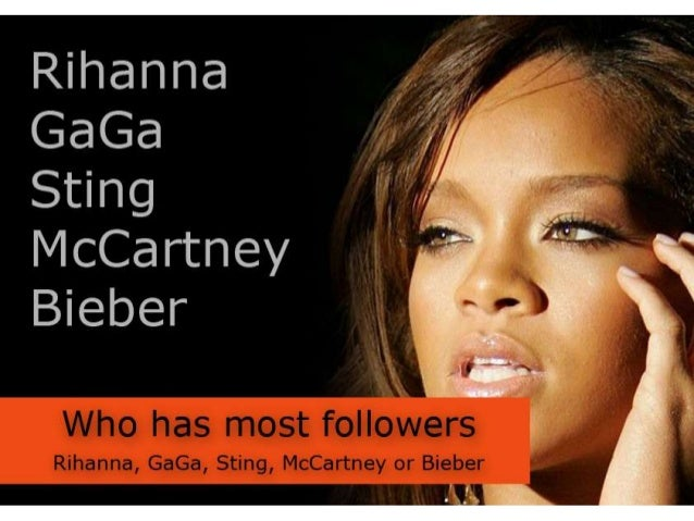 Who has the most followers - Rihanna Bieber GaGa Sting McCartney or Bieber