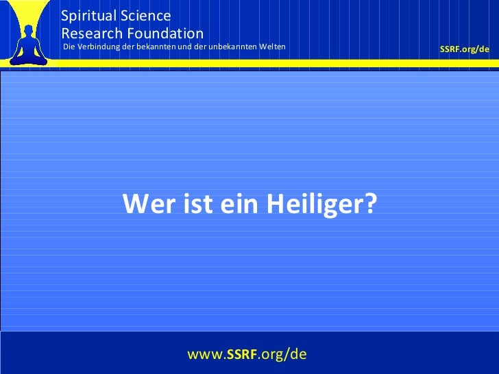 Cover Wer ist ein Heiliger? www. SSRF .org/de