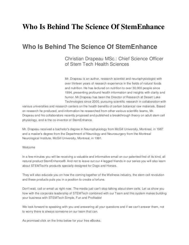 Who Is Behind The Science Of StemEnhanceWho Is Behind The Science Of StemEnhance                                Christian ...