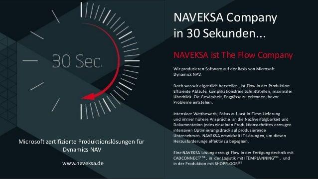 www.naveksa.de NAVEKSA ist The Flow Company Wir produzieren Software auf der Basis von Microsoft Dynamics NAV. Doch was wi...