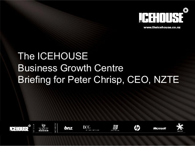 The ICEHOUSE Business Growth Centre Briefing for Peter Chrisp, CEO, NZTE www.theicehouse.co.nz