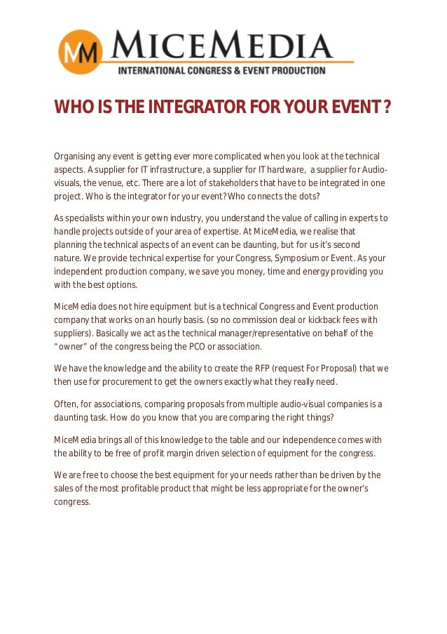 WHO IS THE INTEGRATOR FOR YOUR EVENT ? Organising any event is getting ever more complicated when you look at the technica...
