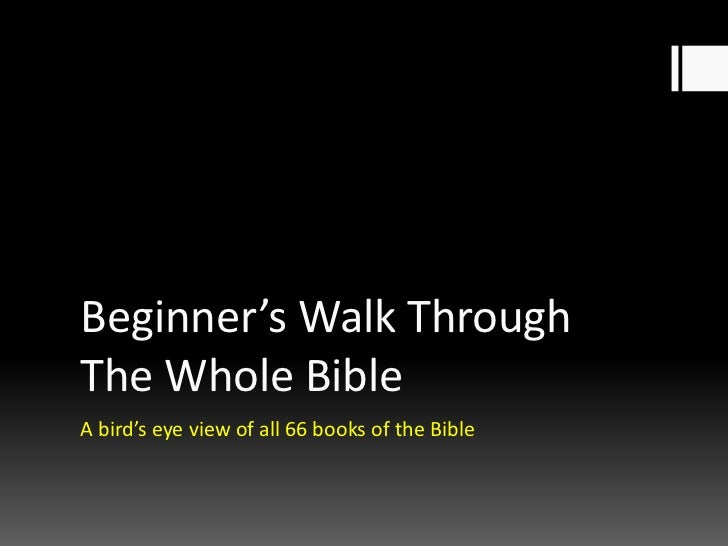 Beginner's Walk ThroughThe Whole BibleA bird's eye view of all 66 books of the Bible
