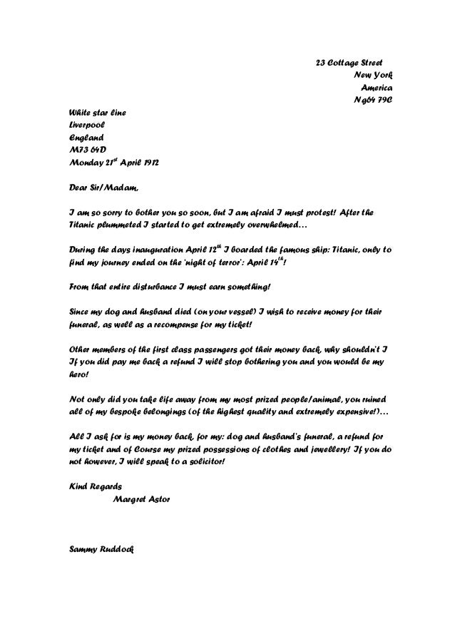 Letter Of Complaint On Holiday Company