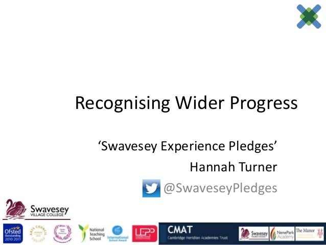 Recognising Wider Progress  'Swavesey Experience Pledges'                Hannah Turner            @SwaveseyPledges