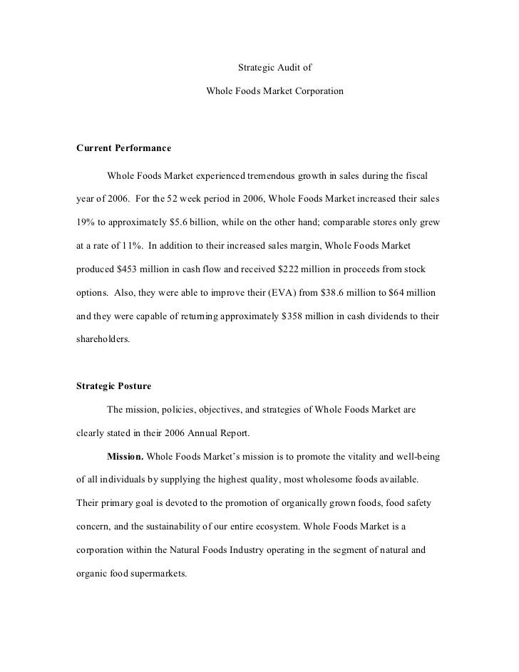whole foods case analysis research paper Whole foods market this research paper whole foods market and other 63,000+ term papers, college essay examples and free essays are available now on analysis e.