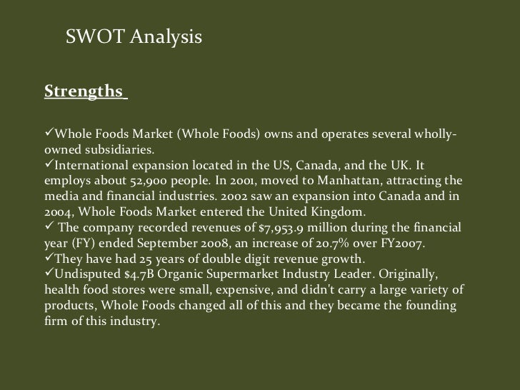 situational analysis for whole foods Transcript of whole foods' internal and external environment in the case of whole foods the external environment analysis is necessary and essential for.