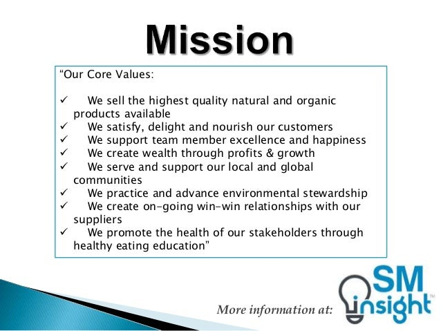 whole foods market in 2010 vision core values and strategy Complete a case analysis that summarizes a companies competitive advantage details: read case 03: whole foods market in 2014: vision, core values, and strategy pages (ca11 - ca39) complete a short written case analysis.