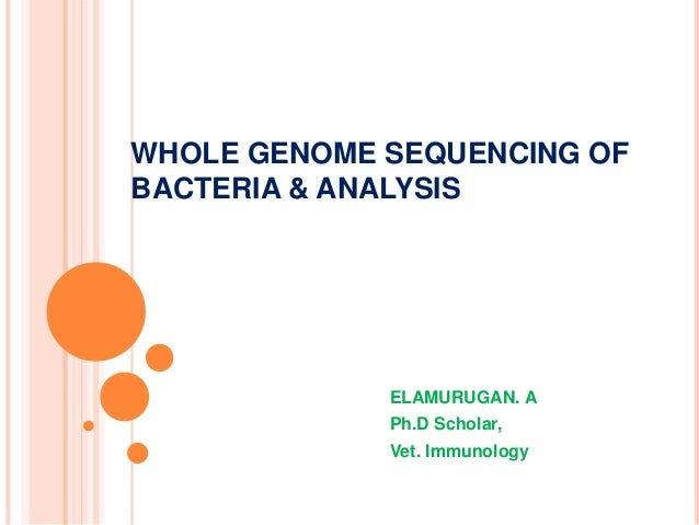 WHOLE GENOME SEQUENCING OF BACTERIA & ANALYSIS ELAMURUGAN. A Ph.D Scholar, Vet. Immunology