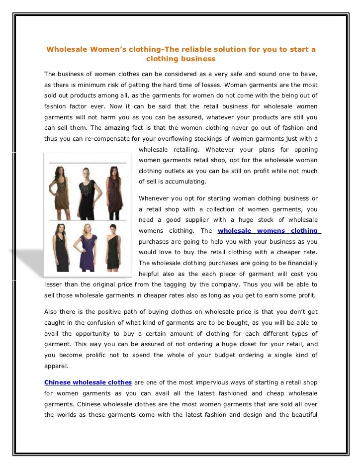 Wholesale Women's clothing-The reliable solution for you to start a                       clothing businessThe business of...