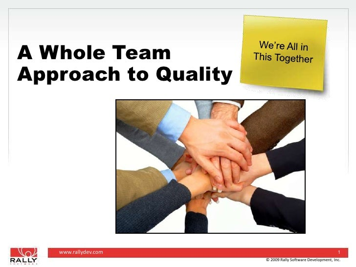 © 2009 Rally Software Development, Inc.<br />1<br />A Whole TeamApproach to Quality<br />We're All in<br />This Together<b...