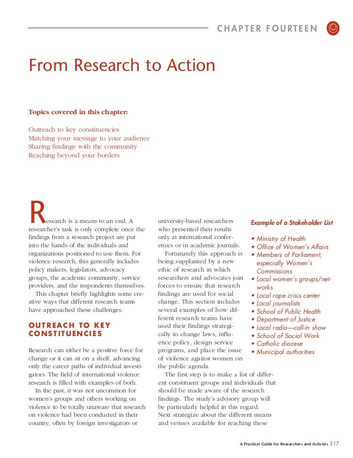 CHAPTER FOURTEEN                                     oFrom Research to ActionTopics covered in this chapter:Outreach to ke...