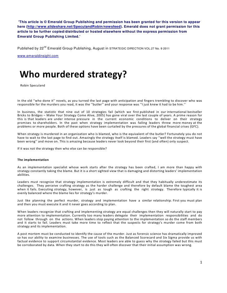 Who murdered strategy