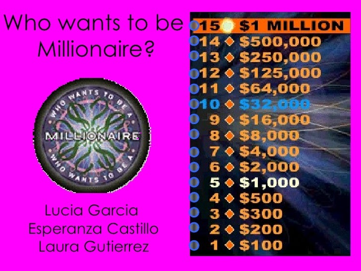 Who wants to be  Millionaire? Lucia Garcia  Esperanza Castillo Laura Gutierrez