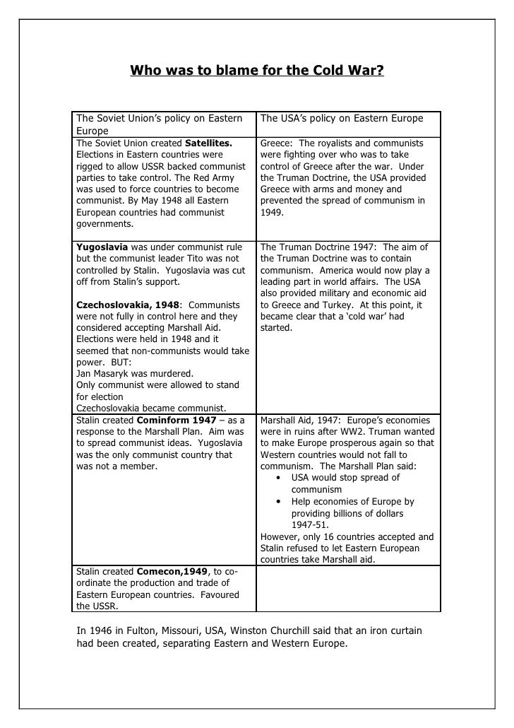 the perpetuation of the cold war who was to blame Who was to blame for the cold war the most common gcse question on the cold war information on the four different viewpoints which covers all the.