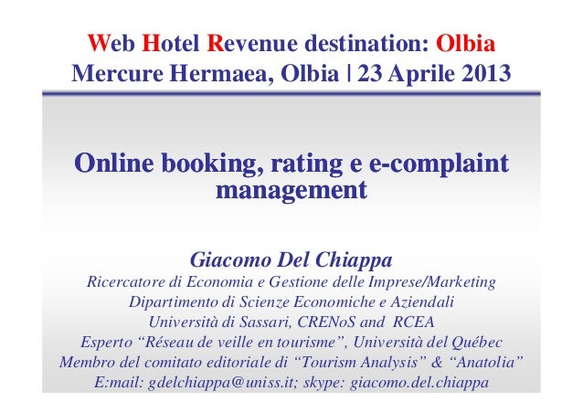 """Giacomo Del Chiappa """"Online booking, rating e e-complaint management"""" - WHR Olbia 2013"""