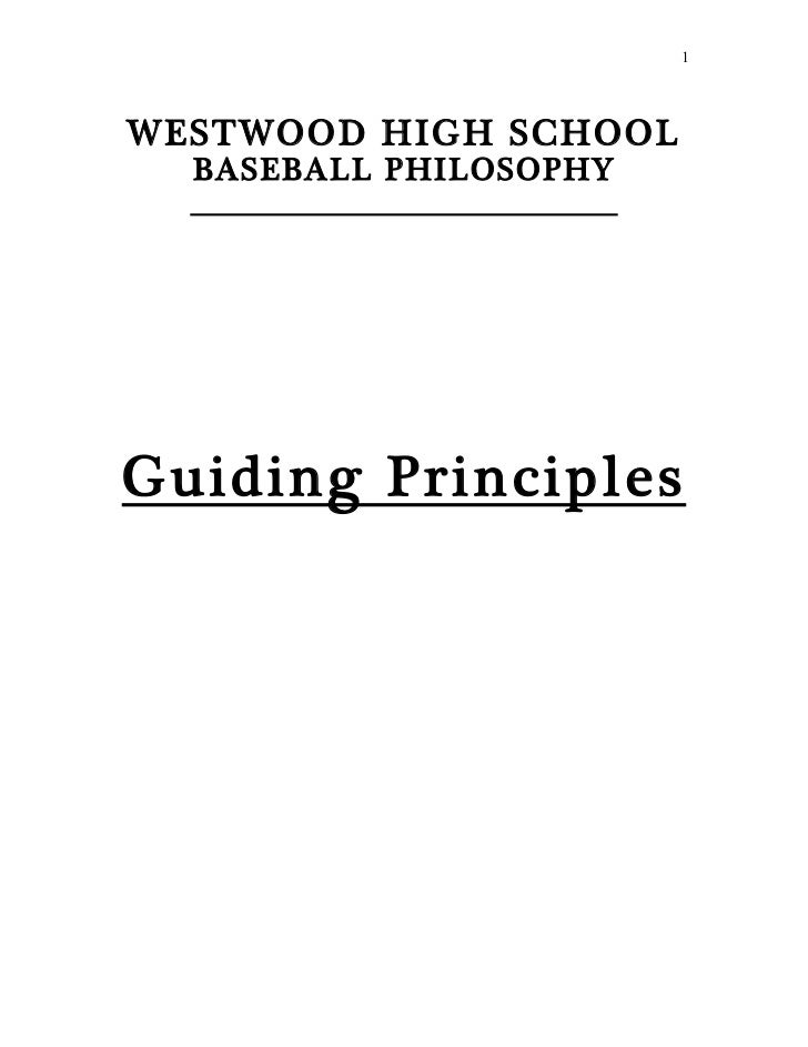 WHS Baseball Guiding Principles