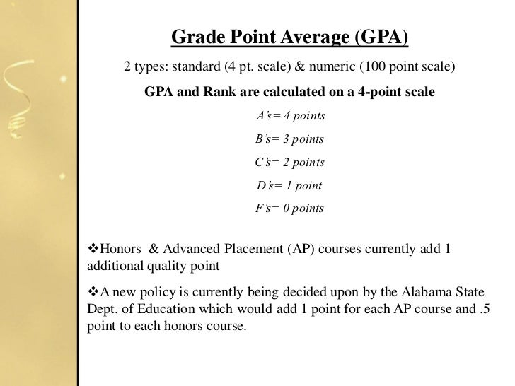 grade point average What's the average high school gpa nationally this increase in the average gpa has a lot to do with grade this info should serve as a reference point rather.