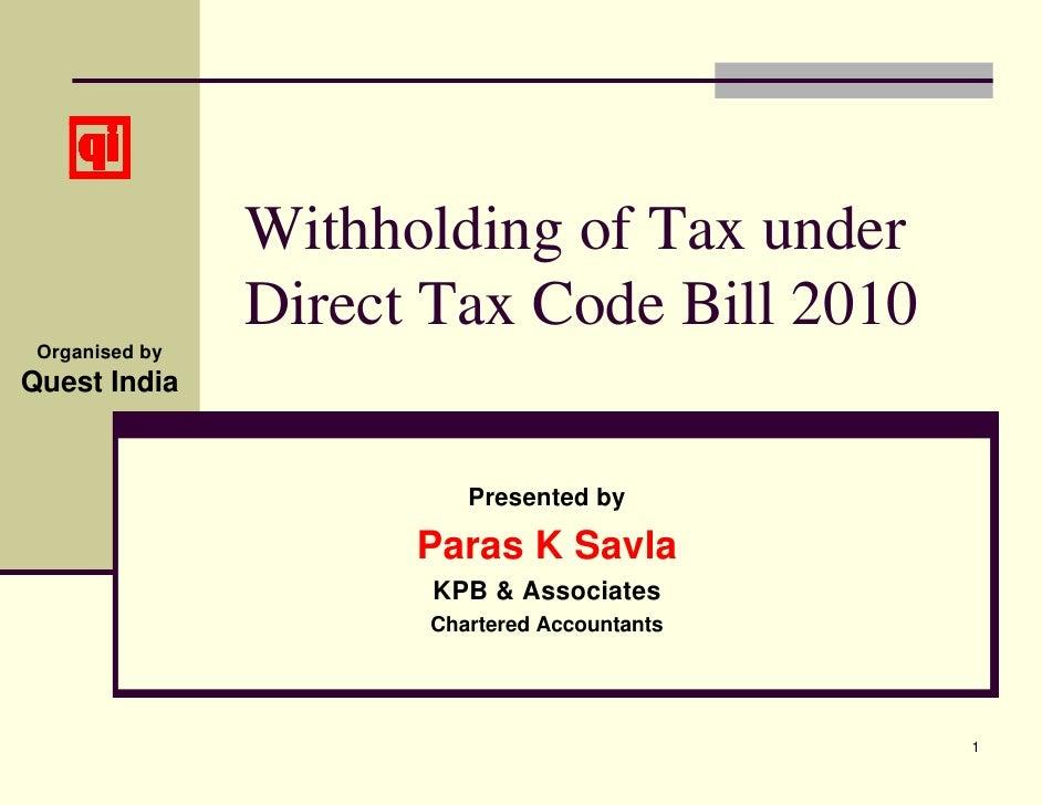 WHT under DTC Bill 2010