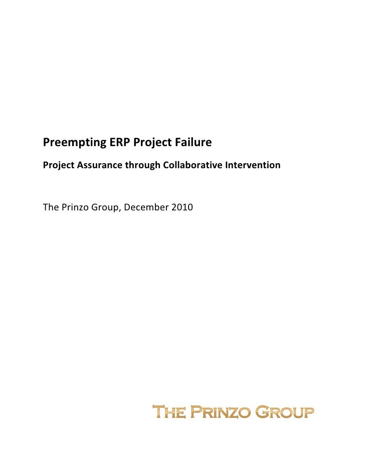 Preempting ERP Project Failure