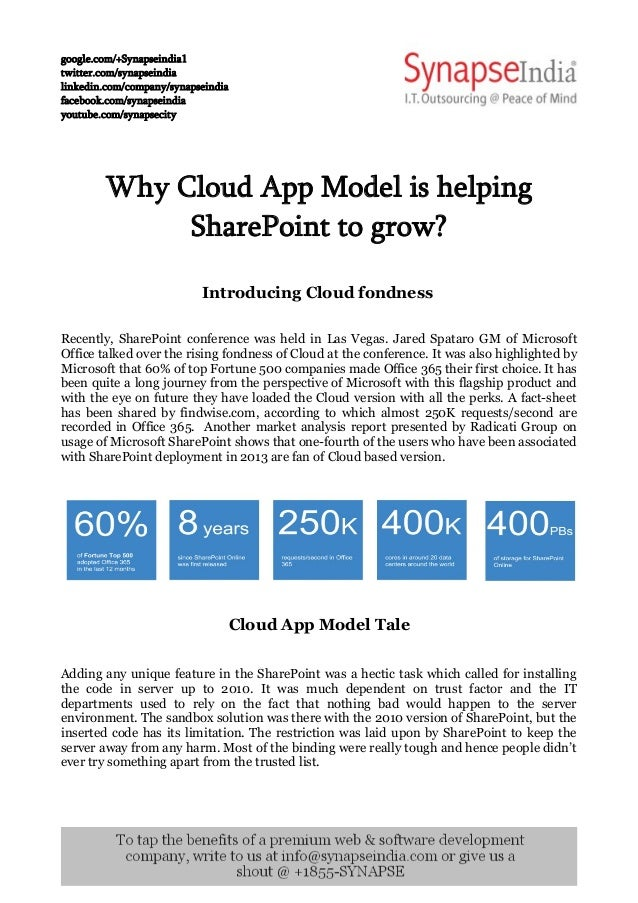 Why Cloud App Model is helping Sharepoint to grow?