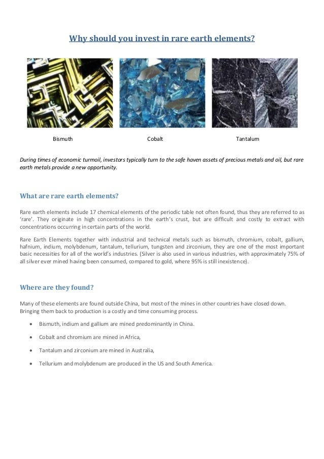 Why should you invest in rare earth elements?              Bismuth                                 Cobalt                 ...