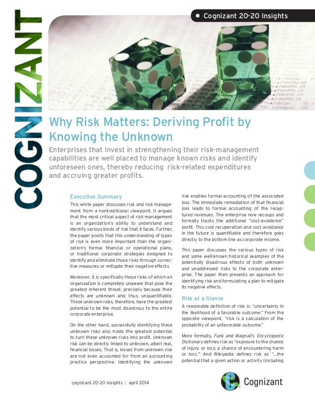 Why Risk Matters: Deriving Profit by Knowing the Unknown Enterprises that invest in strengthening their risk-management ca...